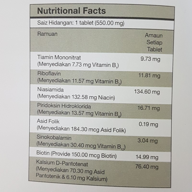 B-Complex Nutritional facts