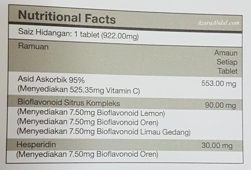 SRVitaC fakta nutrisi vitamin c shaklee