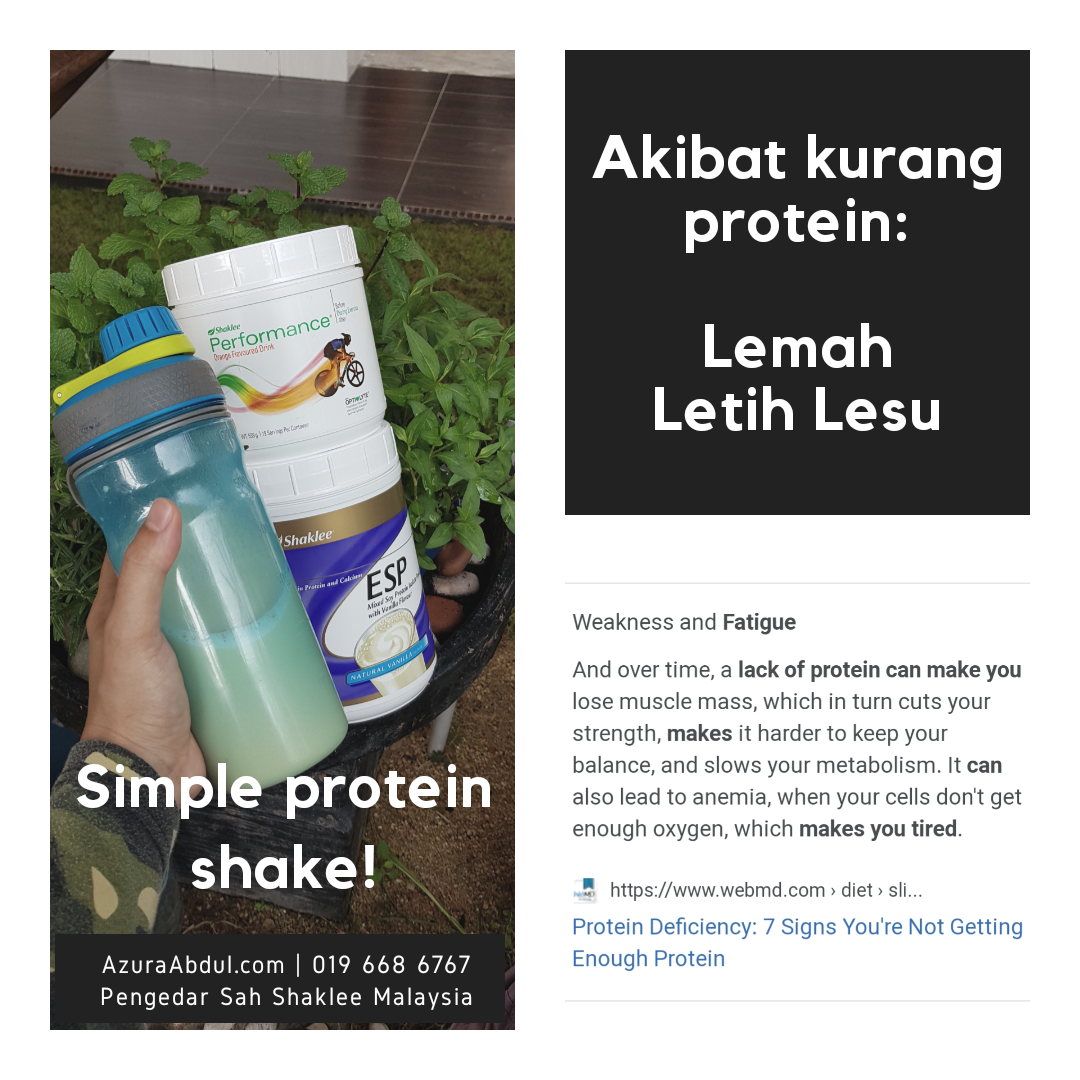 Kekurangan protein buat kita rasa letih, lemah dan lesu. Protein penting dalam penuaan sihat.