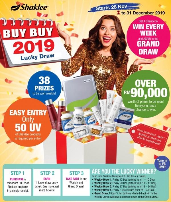 Promosi Shaklee Disember 2019 - Buy Buy 2019 Lucky Draw!