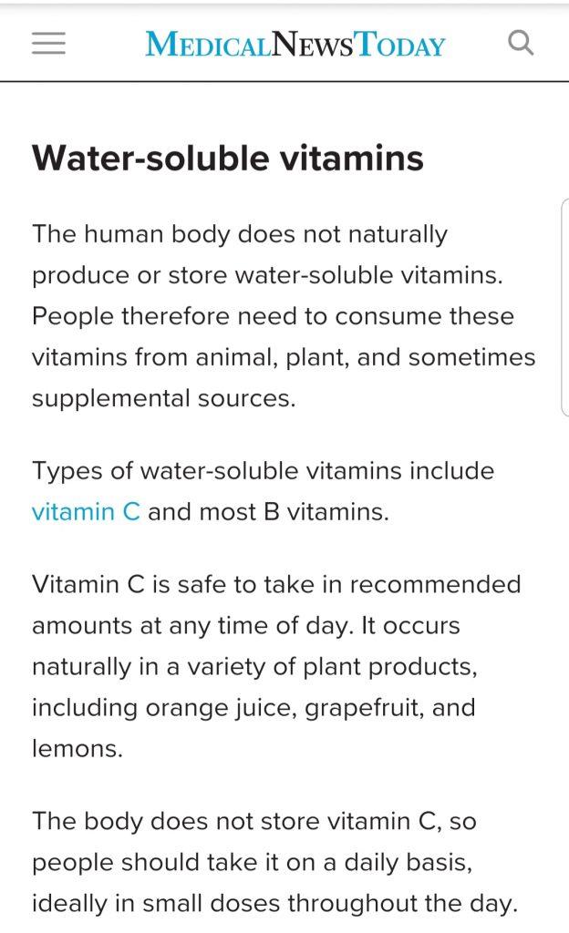 waktu terbaik untuk ambil vitamin larut air seperti vitamin C dan B?