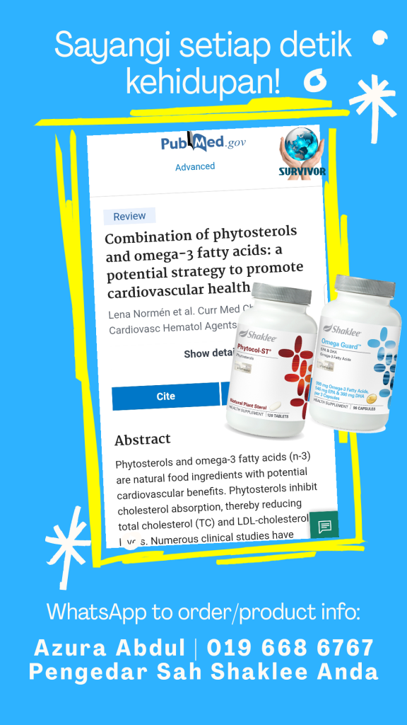Phytocol-ST dan OmegaGuard bantu turunkan paras kolesterol dalam darah secara semulajadi.
