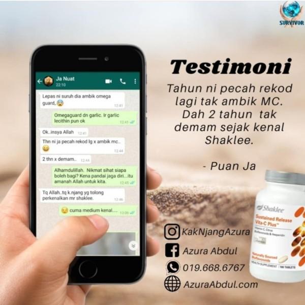 testimoni vitamin c shaklee - 2 tahun tanpa MC