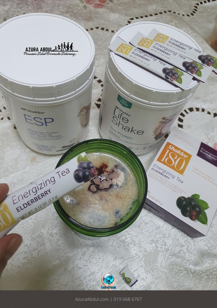 KakNjang dah rasa Elderberry Life Shake Mixed Soy Protein Shaklee